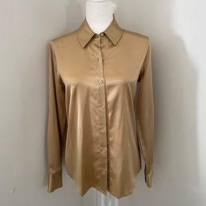 NWT Button Front Collared Stretch Silk  Blouse